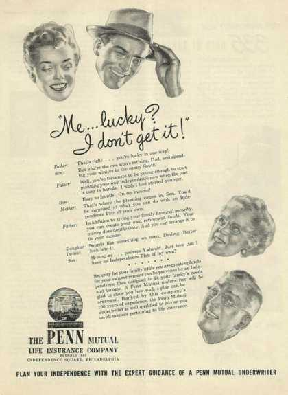 Me. Lucky I Dont Get It Penn Mutual Insura (1947)