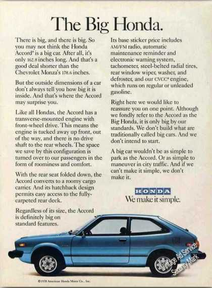 "Honda Accord ""The Big Honda"" Car (1978)"