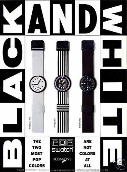 Black & White Swatch Watch 3 Styles (1989)