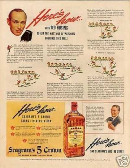 Seagram's 5 Crown Whiskey Ad Ted Husing (1940)