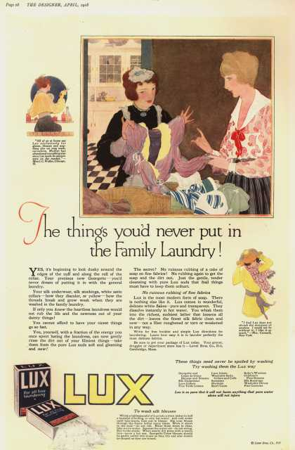 Lever Bros.'s Lux (laundry flakes) – The things you'd never put in the Family Laundry (1918)
