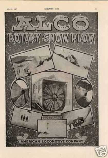 Alco Locomotive Ad Rotary Snow Plows (1927)