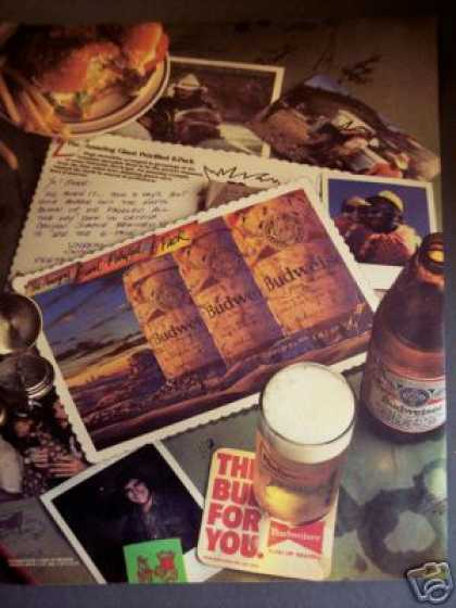Giant Petrified 6 Pack Postcard Budweiser Beer (1985)