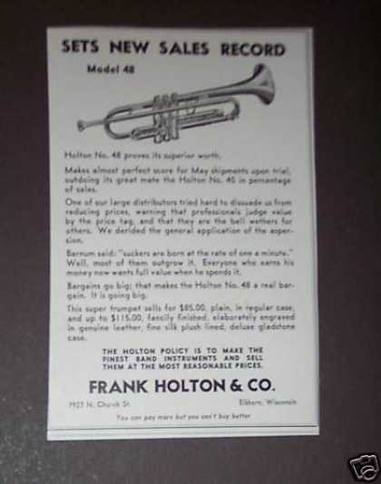 Holton Trumpet Model 48 Sets Sales Record (1939)