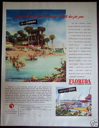 Florida Beaches Swimming Vacation Travel (1946)