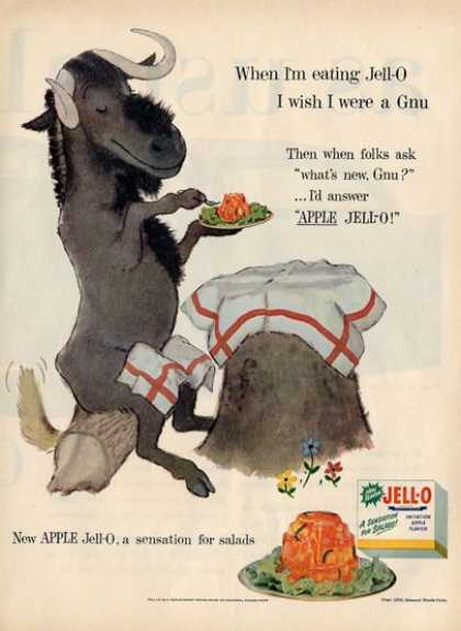 Jello Animal Set Gnu Kitchen Decor Ad T (1955)