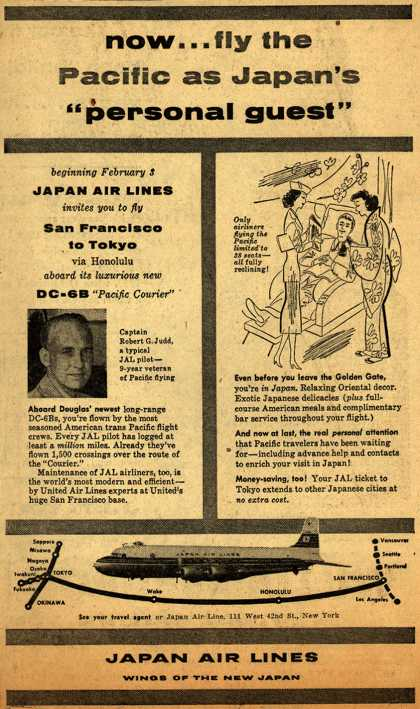 "Japan Air Line's San Francisco to Tokyo – Now.. fly the Pacific as Japan's ""personal guest"" (1954)"