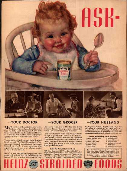 H. J. Heinz Company's Heinz Strained Foods – Ask -Your Doctor -Your Grocer -Your Husband (1936)