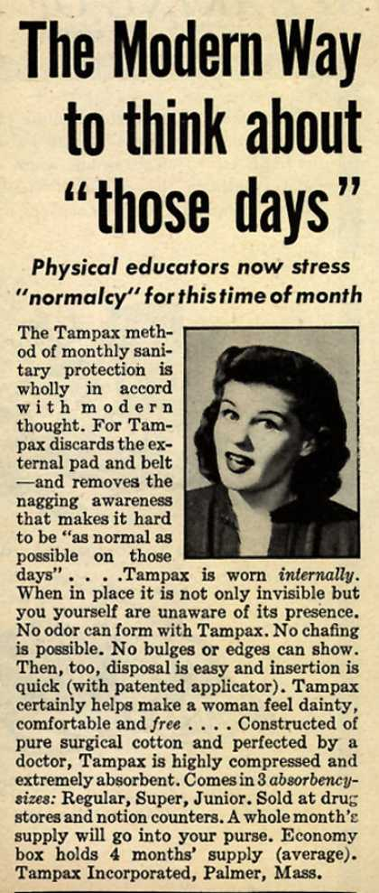 "Tampax's Tampons – The Modern Way to think about ""those days"" (1945)"