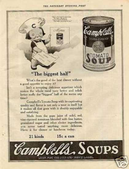 "Campbell's Tomato Soup Ad ""The Biggest Half"" (1921)"