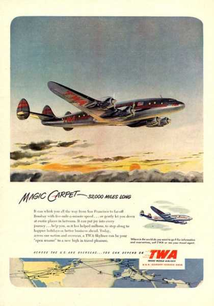 Twa Skyliner Plane Flying (1951)