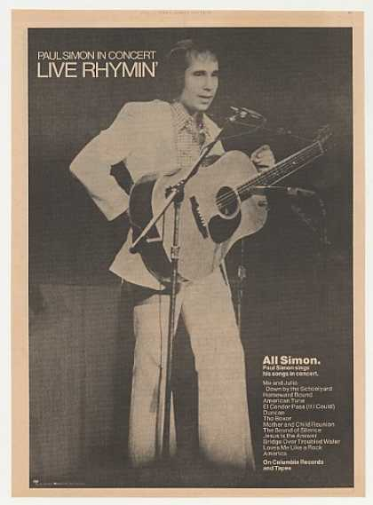 Paul Simon in Concert Live Rhymin' Photo (1974)