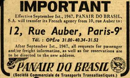 PanAir Do Brasil's Address change for company – Important (1947)