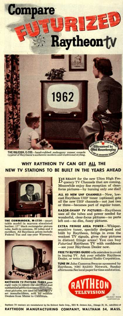 Raytheon Manufacturing Company's 1962 models – Compare Futurized Raytheon TV (1952)