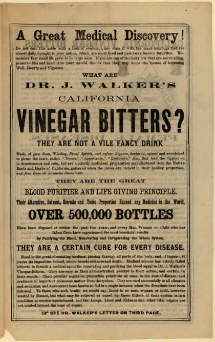 Dr. J Walker, Wholesale Druggists & General Agent's Vinegar Bitters – A Great Medical Discovery