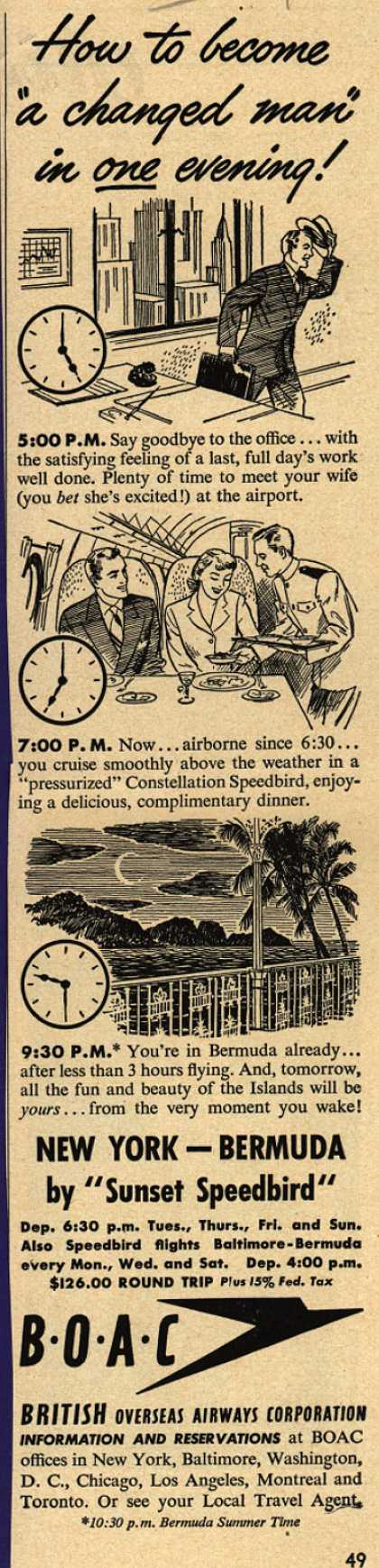"British Overseas Airways Corporation's Bermuda – How to Become ""A Changed Man"" in One Evening (1948)"