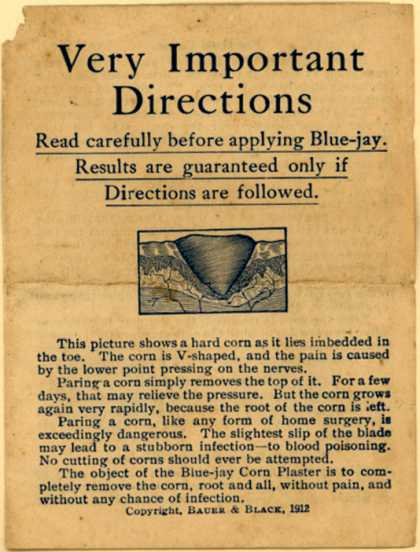 Bauer & Black's Blue-jay Corn Plaster – Very Important Directions (1912)