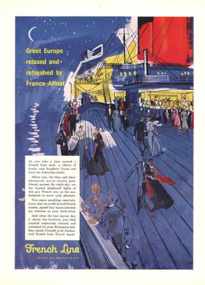 French Line Cruise Ship Dancing Artwork (1957)