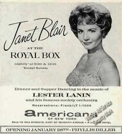Janet Blair at the Royal Box Americana of Ny (1963)