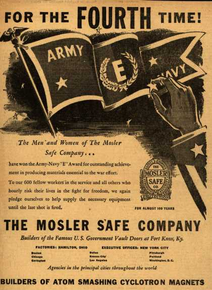 "Mosler Safe Co.'s 3rd Army Navy ""E"" star – For The Fourth Time (1945)"