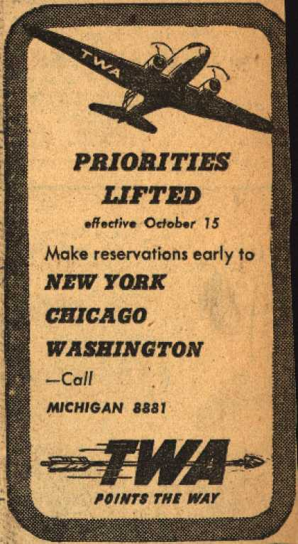 Transcontinental & Western Air – Priorities Lifted (1945)