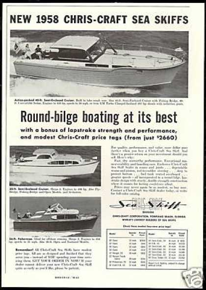 Chris Craft Sea Skiff Photo Print Vintage (1958)