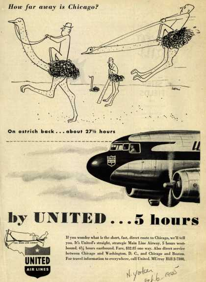 United Air Line's Chicago – How far away is Chicago? On ostrich back... about 27 hours, by United... 5 hours (1945)