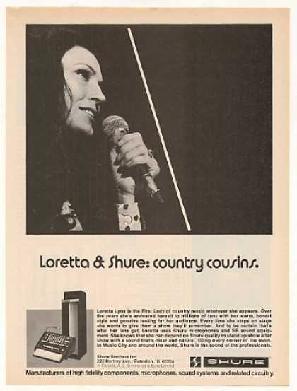 Loretta Lynn Shure Microphone Photo (1976)