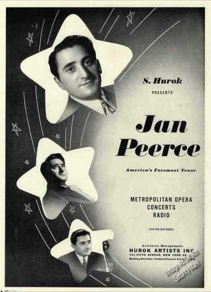 Jan Peerce Photos Opera Concerts Radio Trade (1944)