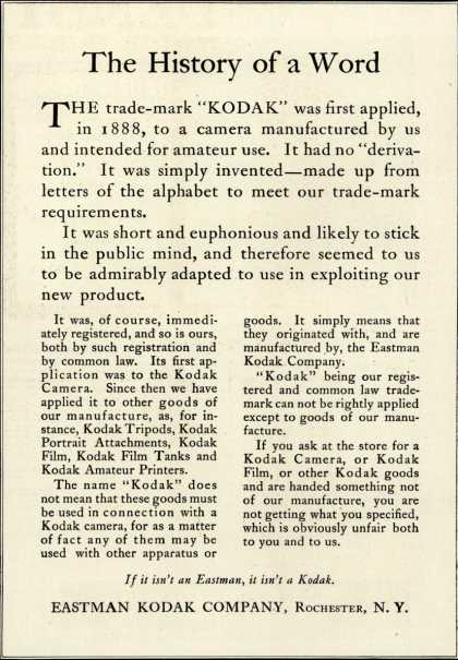 Kodak &#8211; The History of a Word (1920)