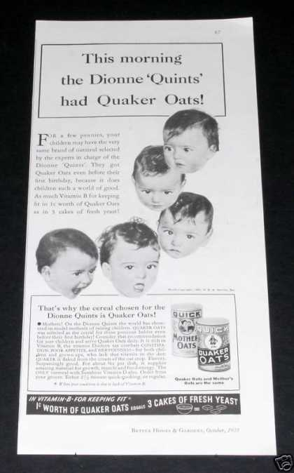 Quaker Oats, Dionne Quints (1935)