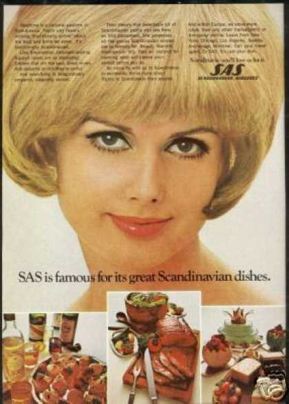 Blonde Stewardess SAS Scandinavian Airlines (1969)