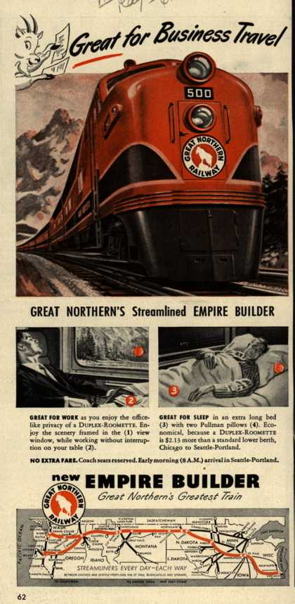 Great Northern Railway's Empire Builder – Great for Business Travel (1948)