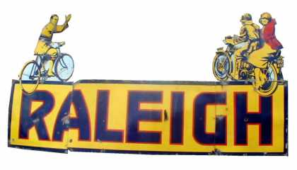 Raleigh Bicycles and Motorbikes Enamel Sign
