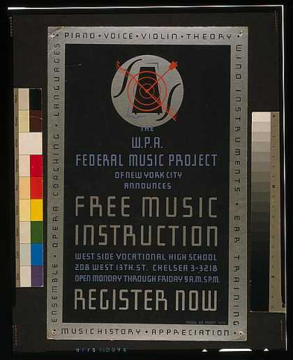 The W.P.A. Federal Music Project of New York City announces free music instruction – register now. (1938)