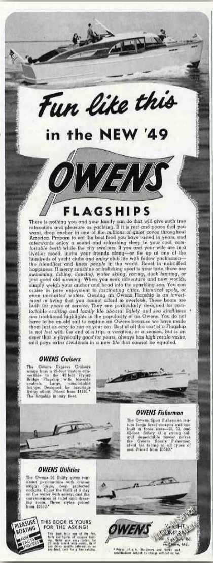 Owens Flagships Collectible Boat Photos (1949)