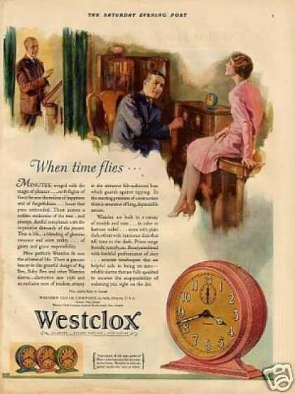 Westclox Alarm Clock Color Ad &quot;When Time Flies... (1929)