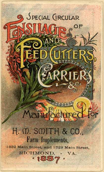 H. M. Smith & Co.'s feed cutters, carriers, etc. – Special Circular of Ensilage and Feed Cutters, Carriers &c. (1887)