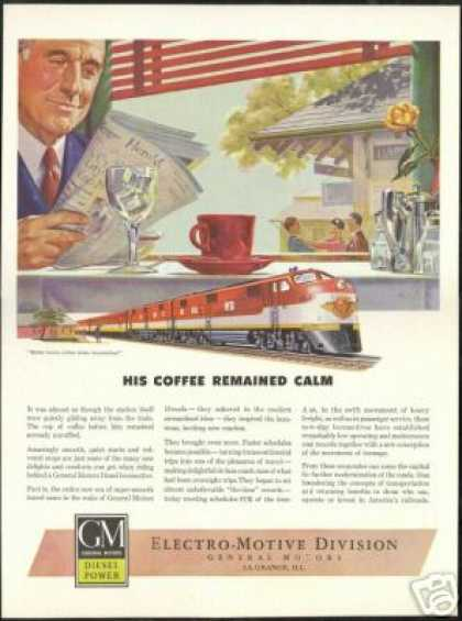 GM Diesel Locomotive Train Coffee Railroad (1946)