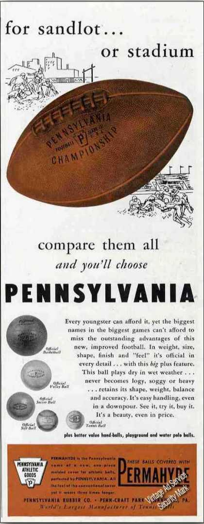 Pennsylvania Permahyde Footballs Collectible (1947)