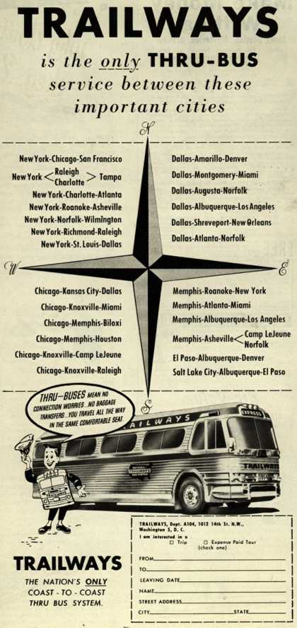 National Trailways Bus System's Thru-Bus Service – Trailways is the only Thru-Bus service between these important cities (1954)