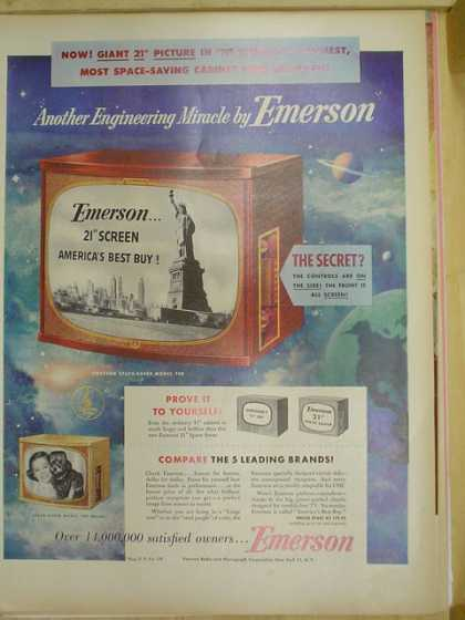Emerson 21 inch television. Space saving cabinet (1953)