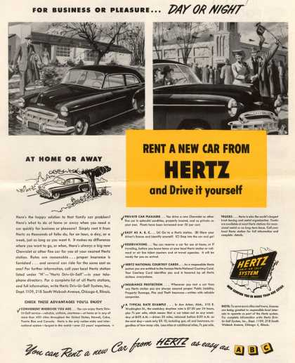 Hertz Driv-Ur-Self System's Hertz – Rent A New Car From Hertz and Drive it yourself (1949)