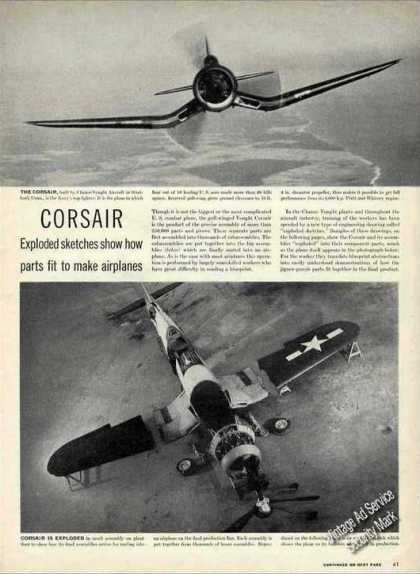Wwii Corsair Exploded Sketches How Built Article (1944)