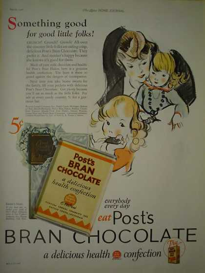 Post Brand Chocolate AND Real Silk Lingerie Hosiery (1926)