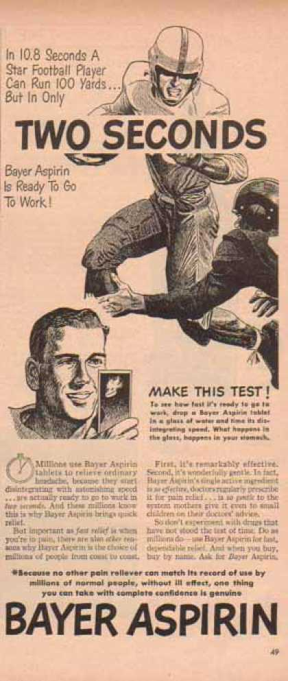 Bayer Aspirin – Football Relief Pain Reliever Record (1949)