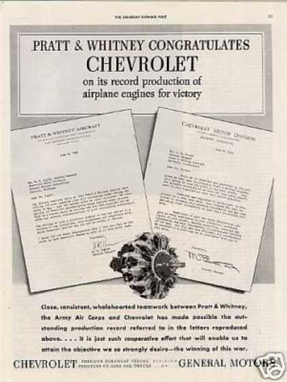Chevrolet Ad Pratt & Whitney Aircraft Engine (1942)