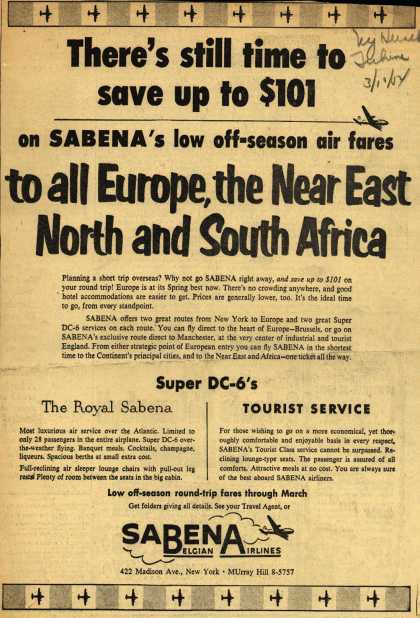 Sabena Belgian Airline's Off-season air fares – There's still time to save up to $101 on Sabena's low off-season air fares to all Europe, the Near East, North and South Africa (1954)