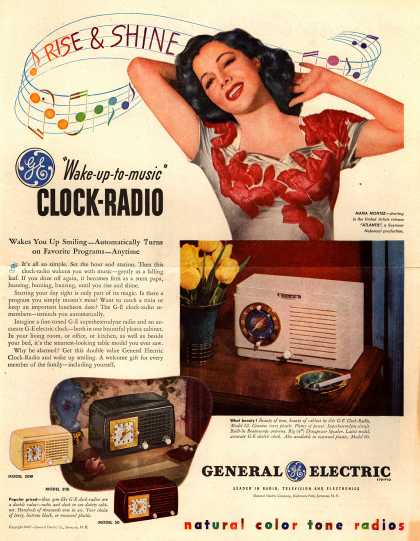 "General Electric Company's GE Clock Radios – ""Wake-up-to-music"" Clock-Radio (1947)"