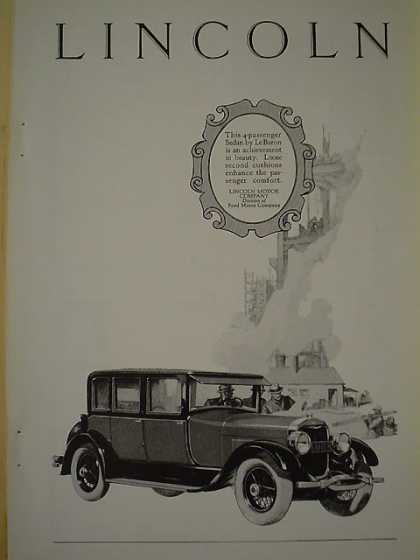 Lincoln Motor Company Div of Ford Lebaron Sedan 4 passenger (1926)